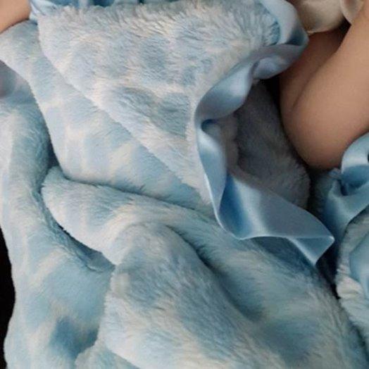 Max Daniel成人毯動物紋天藍長頸鹿細節圖