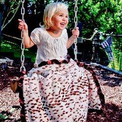 動物紋粉紅雪豹寶寶毯子示意圖