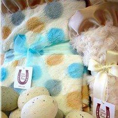 Max Daniel寶寶毯子香檳藍色點點細節圖